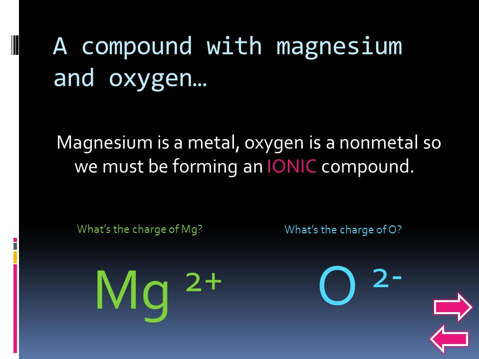 A compound with magnesium and oxygen… Magnesium is a metal, oxygen is a nonmetal so we must be forming an IONIC compound.