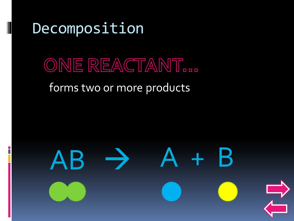 forms two or more products A + B AB 