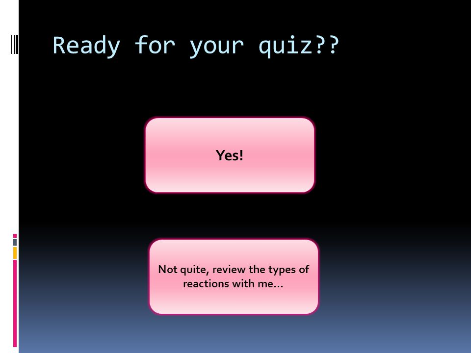 Ready for your quiz?? Yes! Not quite, review the types of reactions with me…