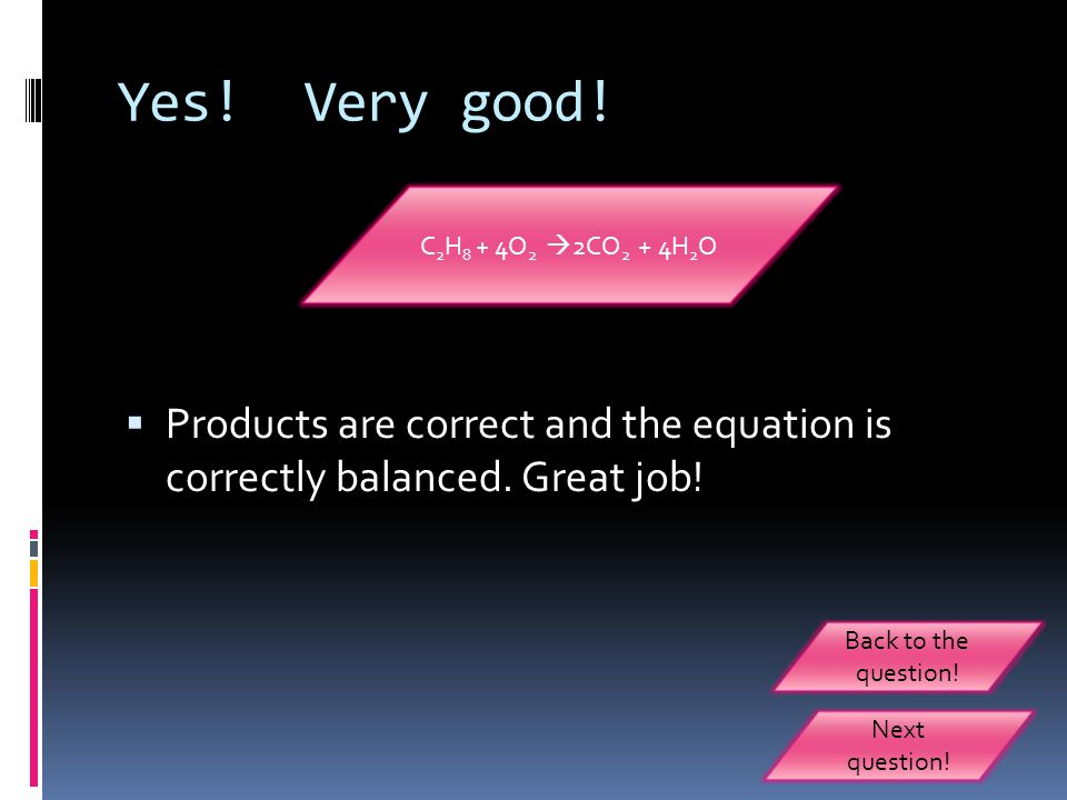 Yes.Very good.  Products are correct and the equation is correctly balanced.