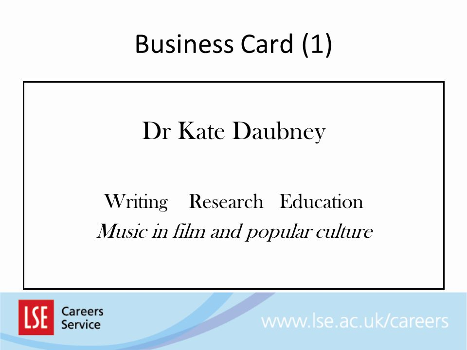 Business Card (1) Dr Kate Daubney Writing Research Education Music in film and popular culture