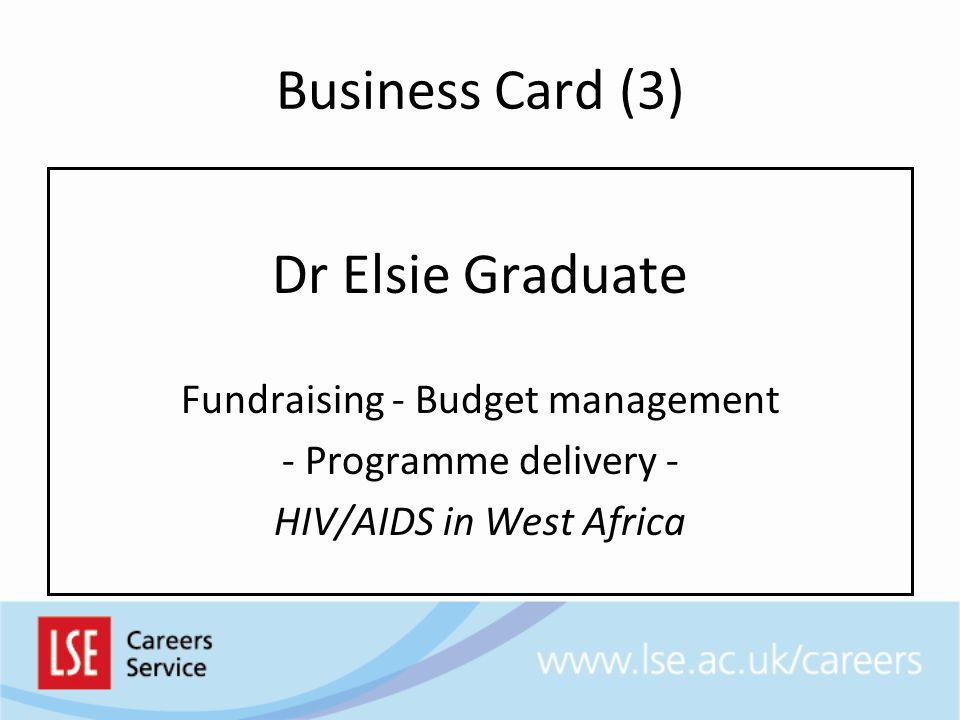 Business Card (3) Dr Elsie Graduate Fundraising - Budget management - Programme delivery - HIV/AIDS in West Africa