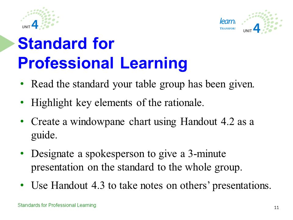 Standards for Professional Learning Read the standard your table group has been given. Highlight key elements of the rationale. Create a windowpane ch