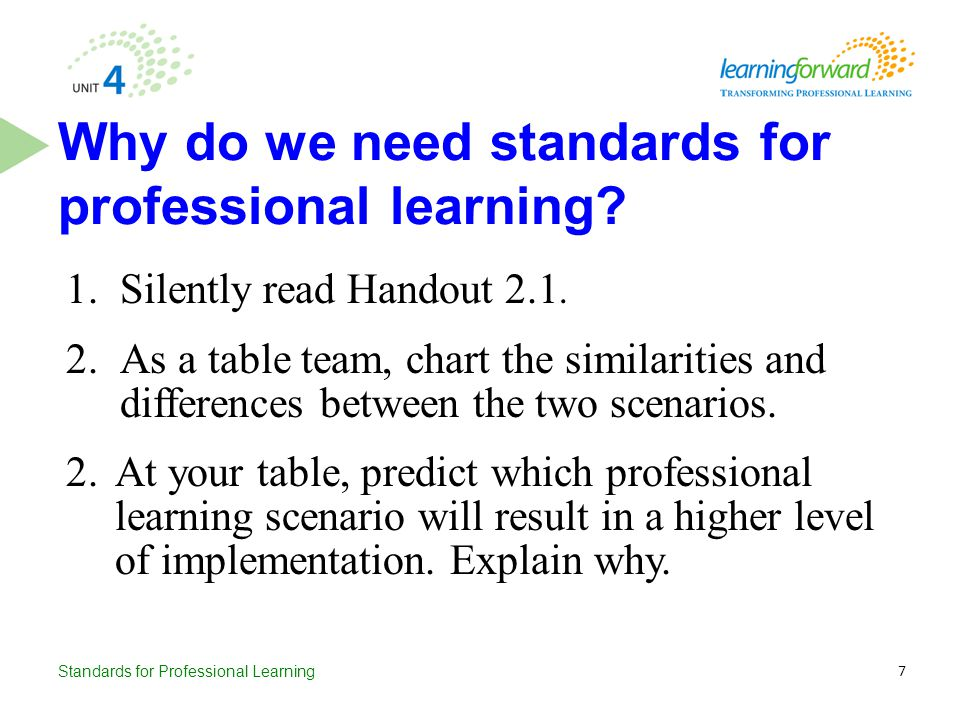 Standards for Professional Learning 1.Silently read Handout 2.1. 2.As a table team, chart the similarities and differences between the two scenarios.