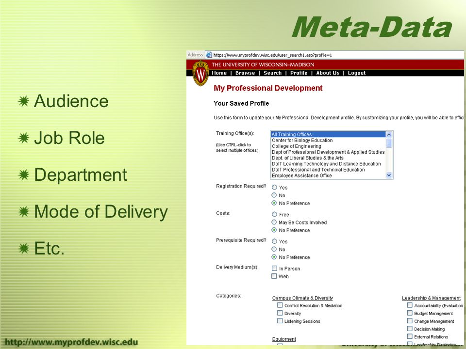 Meta-Data Audience Job Role Department Mode of Delivery Etc.