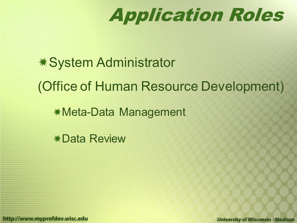 Application Roles System Administrator (Office of Human Resource Development) Meta-Data Management Data Review