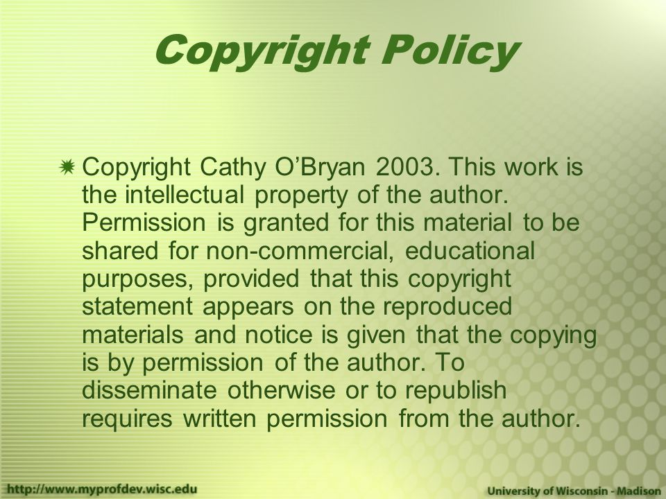 Copyright Policy Copyright Cathy O'Bryan 2003.