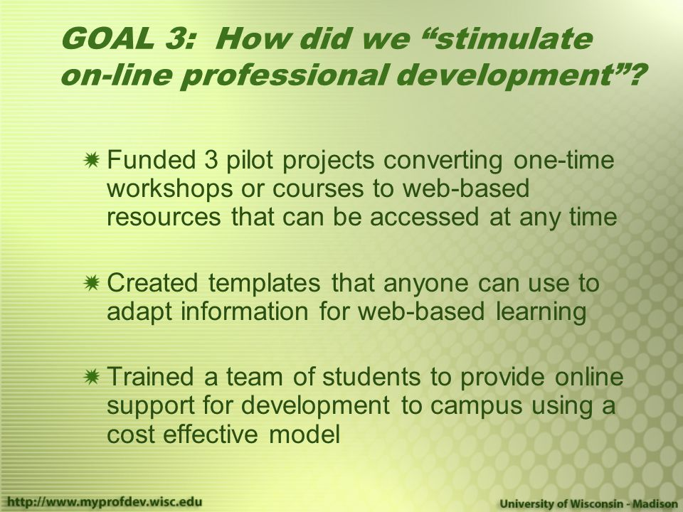 GOAL 3: How did we stimulate on-line professional development .