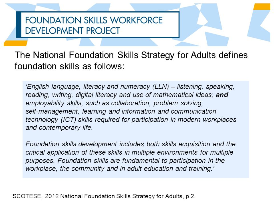 The National Foundation Skills Strategy for Adults defines foundation skills as follows: 'English language, literacy and numeracy (LLN) – listening, speaking, reading, writing, digital literacy and use of mathematical ideas; and employability skills, such as collaboration, problem solving, self-management, learning and information and communication technology (ICT) skills required for participation in modern workplaces and contemporary life.