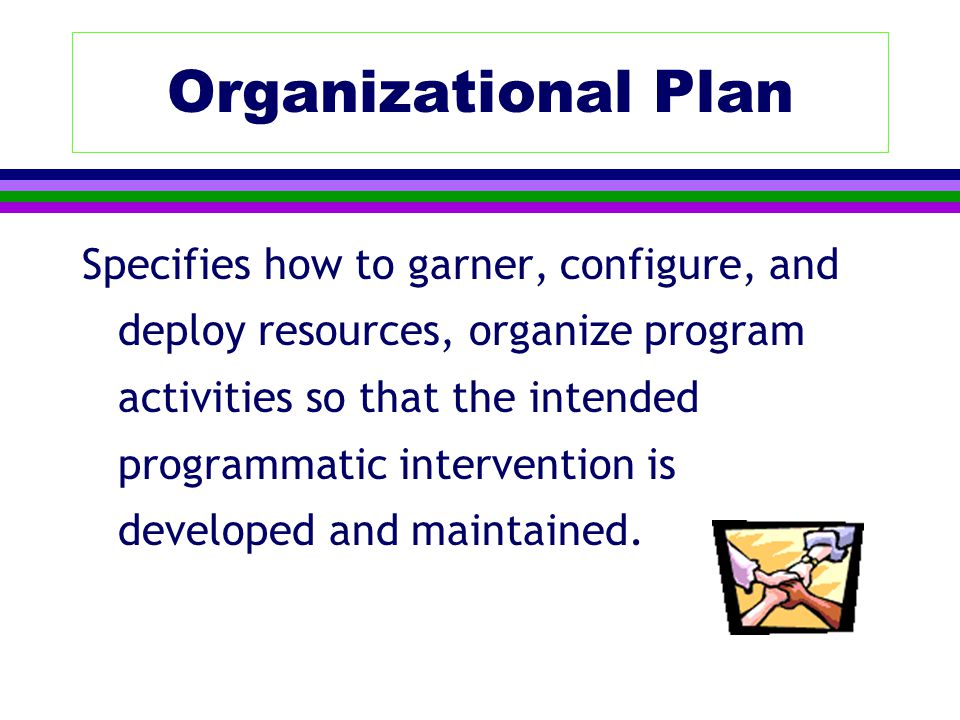 Organizational Plan Specifies how to garner, configure, and deploy resources, organize program activities so that the intended programmatic intervention is developed and maintained.