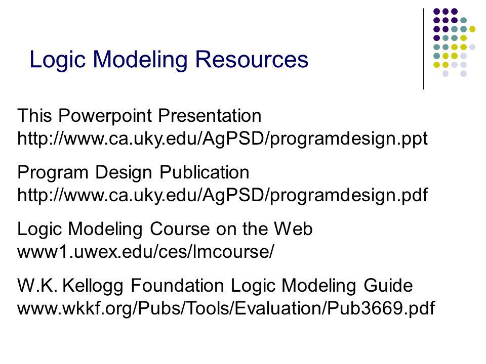 Logic Modeling Resources This Powerpoint Presentation http://www.ca.uky.edu/AgPSD/programdesign.ppt Program Design Publication http://www.ca.uky.edu/AgPSD/programdesign.pdf Logic Modeling Course on the Web www1.uwex.edu/ces/lmcourse/ W.K.