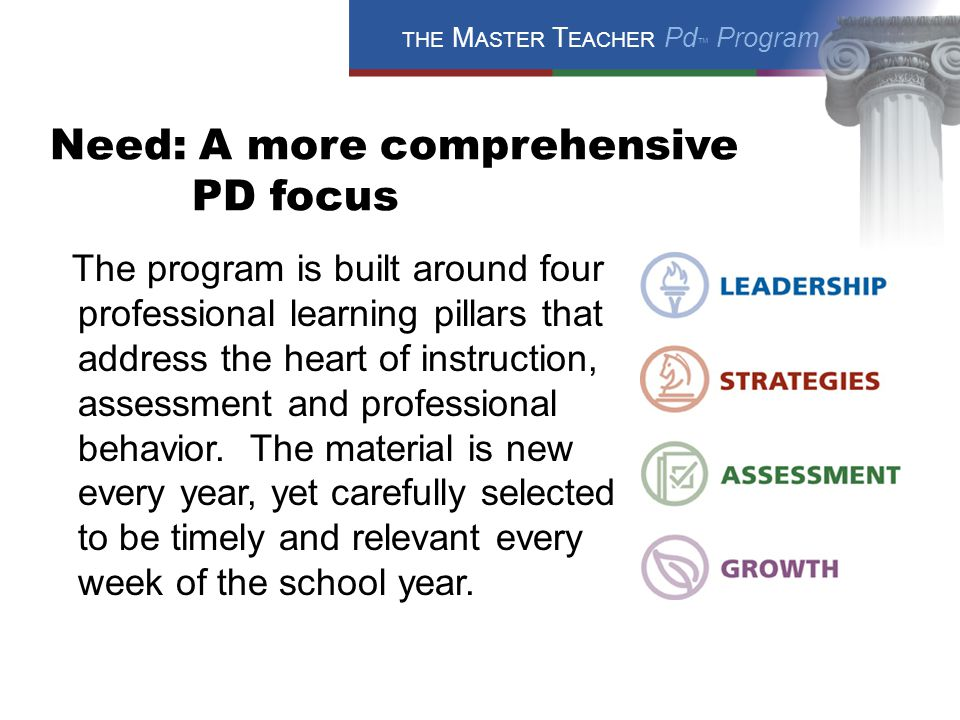 THE M ASTER T EACHER Pd ™ Program Need: A more comprehensive PD focus The program is built around four professional learning pillars that address the heart of instruction, assessment and professional behavior.