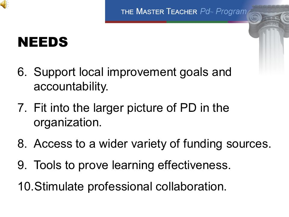 NEEDS 1.A more comprehensive PD focus. 2.Flexibility to fit with various other PD activities.