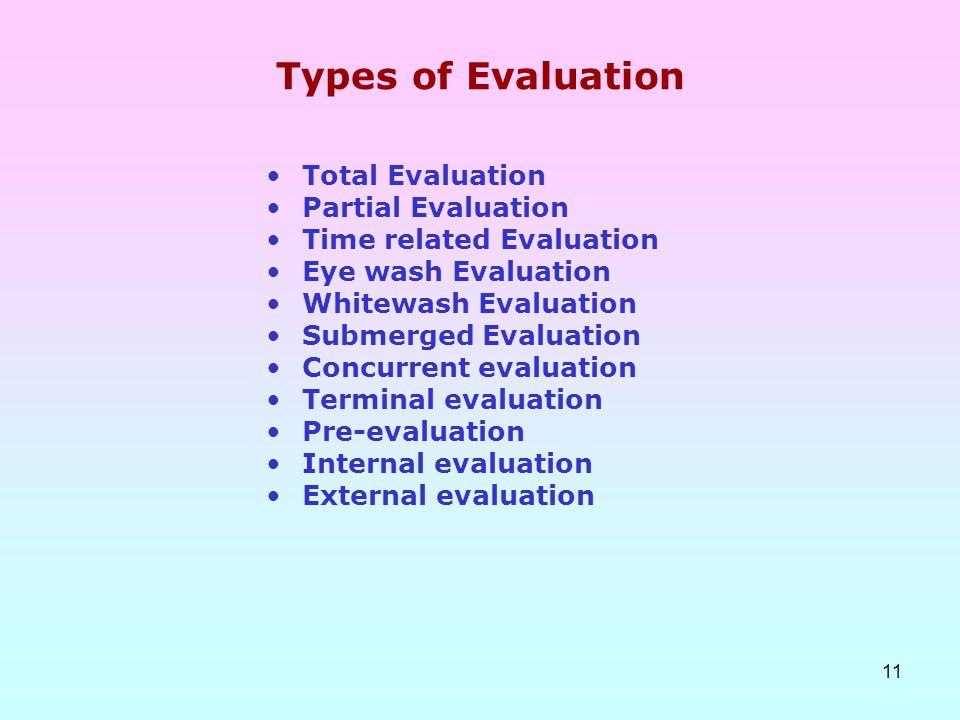 11 Types of Evaluation Total Evaluation Partial Evaluation Time related Evaluation Eye wash Evaluation Whitewash Evaluation Submerged Evaluation Concu