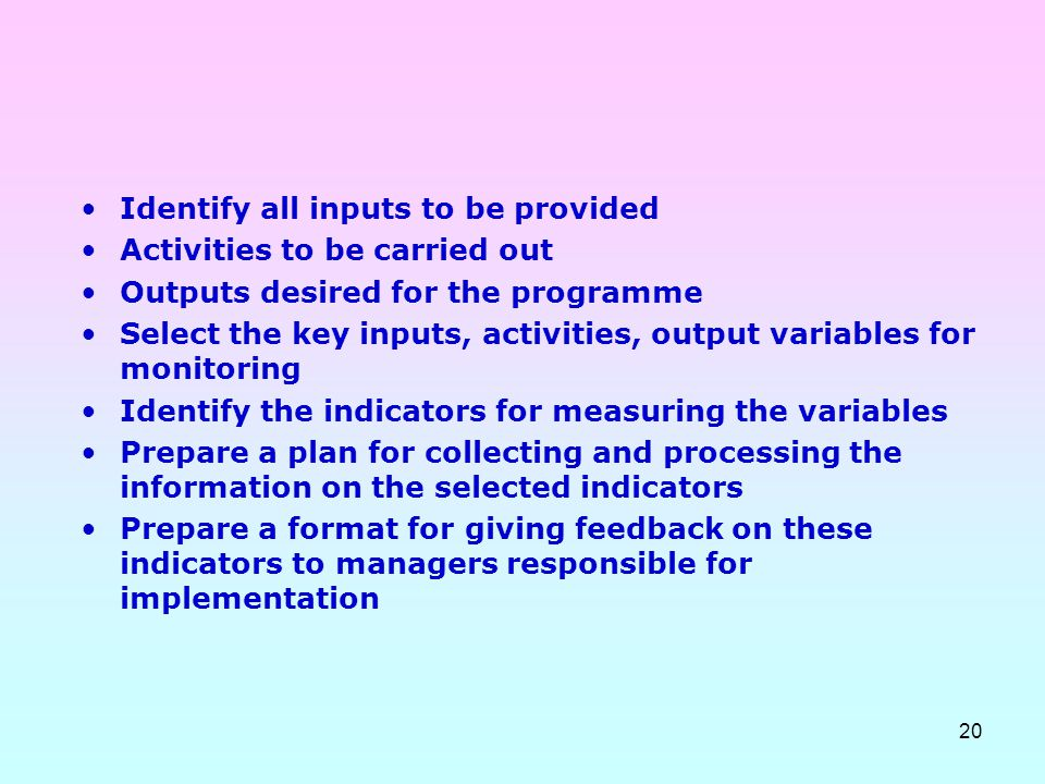 20 Identify all inputs to be provided Activities to be carried out Outputs desired for the programme Select the key inputs, activities, output variabl