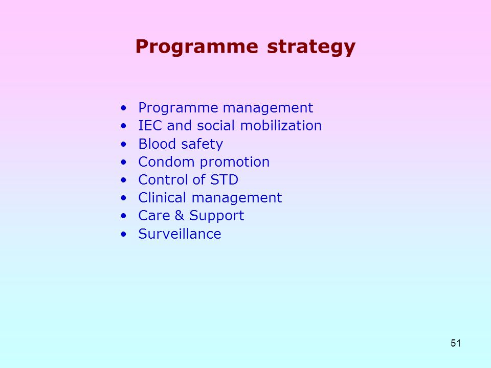 51 Programme strategy Programme management IEC and social mobilization Blood safety Condom promotion Control of STD Clinical management Care & Support