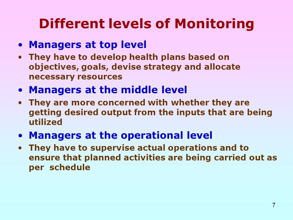 7 Different levels of Monitoring Managers at top level They have to develop health plans based on objectives, goals, devise strategy and allocate nece