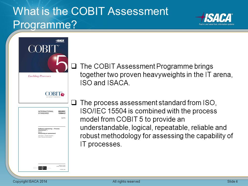  The COBIT Assessment Programme brings together two proven heavyweights in the IT arena, ISO and ISACA.  The process assessment standard from ISO, I