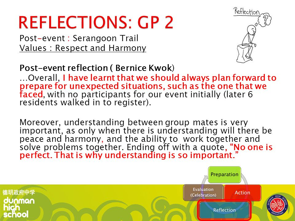 Post-event : Serangoon Trail Values : Respect and Harmony Post-event reflection ( Bernice Kwok) …Overall, I have learnt that we should always plan for