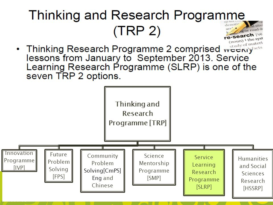 Thinking and Research Programme [TRP] Innovation Programme [IVP] Future Problem Solving [FPS] Community Problem Solving[CmPS] Eng and Chinese Science