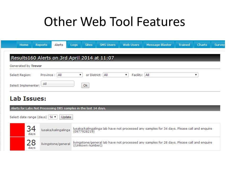 Other Web Tool Features