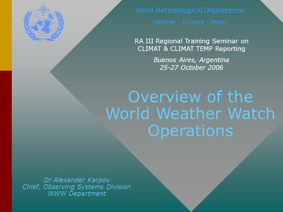 These arrangements, as well as the operation of the WWW facilities, are coordinated and monitored by WMO with a view to ensuring that every country has available all of the information it needs to provide weather services on a day-to-day basis as well as for long-term planning and research.