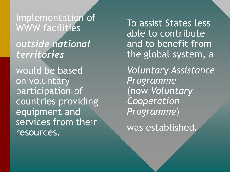 GARP became a synegeric research element for the development and planning of the WWW The WWW still has three readily identifiable interconnected (integrated) components (also known as Basic Systems): Global Observing System (GOS) Global Telecommunication System(GTS) Global Data-processing and Forecasting System (GDPFS)