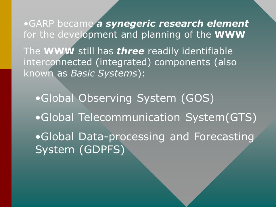 Adopted in 1967, the WWW Plan and Implementation Programme has been reviewed and revised on several occasions, taking into account: The evolving needs of Members The possibilities offered by scientific & technological developments