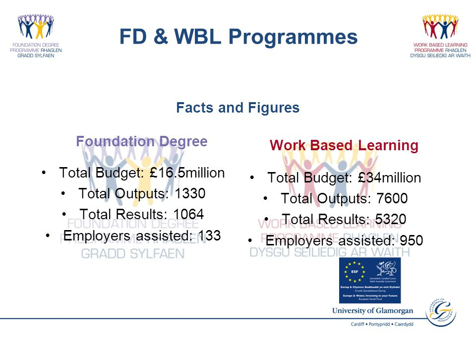 FD & WBL Programmes Foundation Degree Total Budget: £16.5million Total Outputs: 1330 Total Results: 1064 Employers assisted: 133 Work Based Learning Total Budget: £34million Total Outputs: 7600 Total Results: 5320 Employers assisted: 950 Facts and Figures