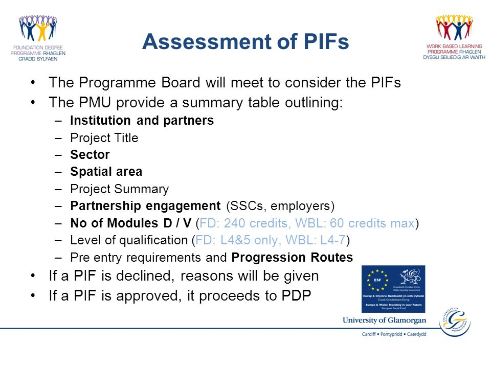 Assessment of PIFs The Programme Board will meet to consider the PIFs The PMU provide a summary table outlining: –Institution and partners –Project Title –Sector –Spatial area –Project Summary –Partnership engagement (SSCs, employers) –No of Modules D / V (FD: 240 credits, WBL: 60 credits max) –Level of qualification (FD: L4&5 only, WBL: L4-7) –Pre entry requirements and Progression Routes If a PIF is declined, reasons will be given If a PIF is approved, it proceeds to PDP