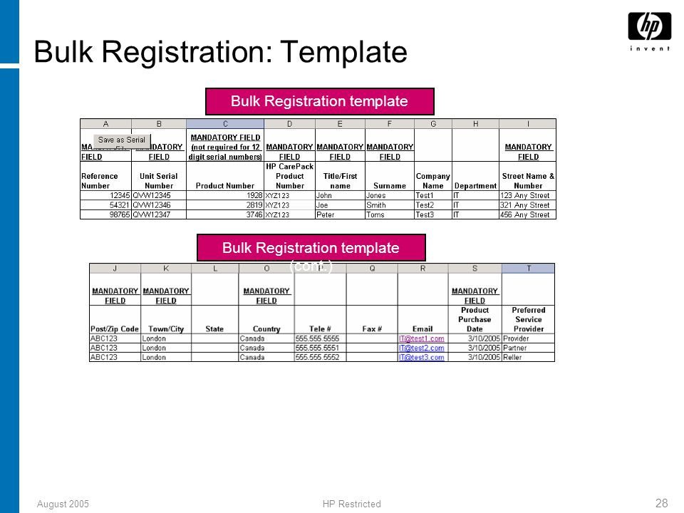 August 2005HP Restricted 28 Bulk Registration: Template Bulk Registration template Bulk Registration template (cont.)