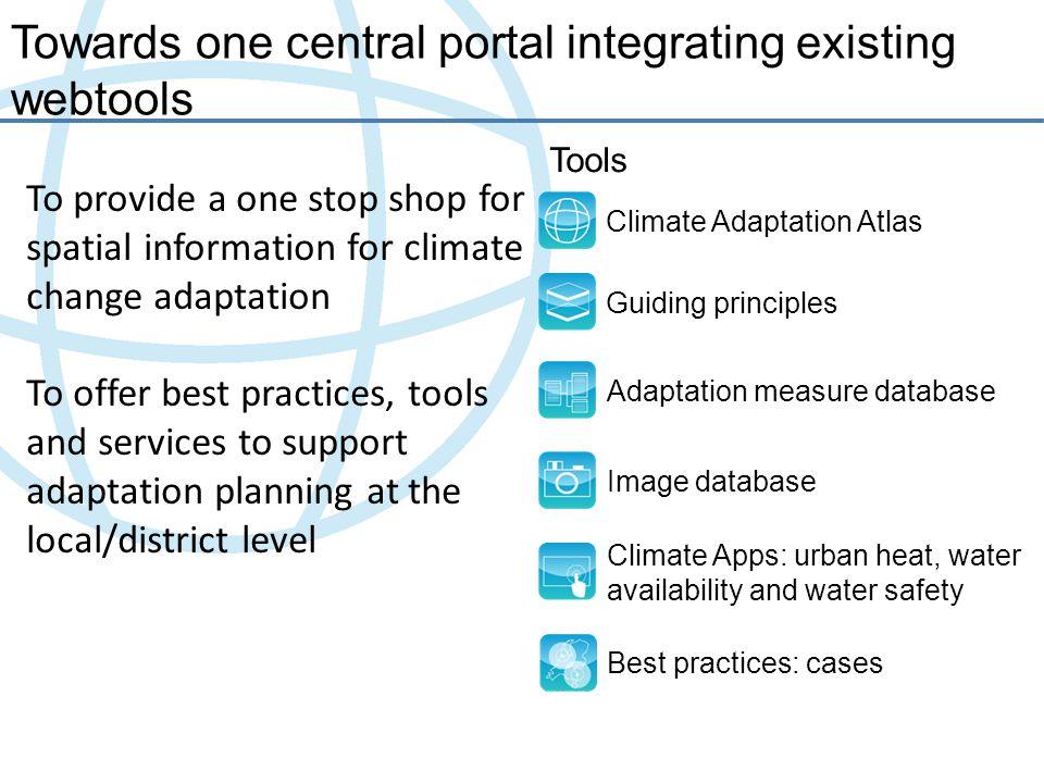 Towards one central portal integrating existing webtools Climate Adaptation Atlas Guiding principles Adaptation measure database Image database Climat