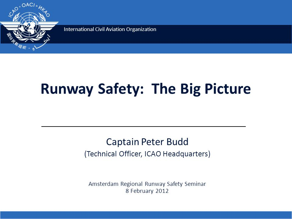 International Civil Aviation Organization Captain Peter Budd (Technical Officer, ICAO Headquarters) Amsterdam Regional Runway Safety Seminar 8 February 2012 Runway Safety: The Big Picture