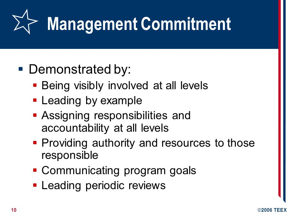 10©2006 TEEX Management Commitment  Demonstrated by:  Being visibly involved at all levels  Leading by example  Assigning responsibilities and accountability at all levels  Providing authority and resources to those responsible  Communicating program goals  Leading periodic reviews