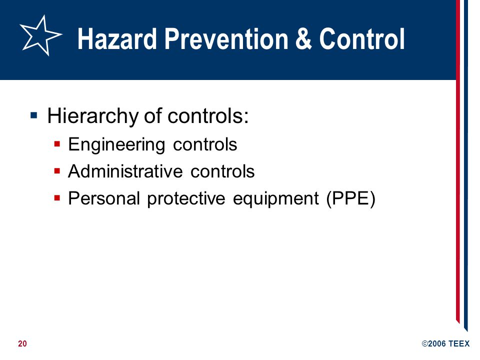 20©2006 TEEX Hazard Prevention & Control  Hierarchy of controls:  Engineering controls  Administrative controls  Personal protective equipment (PPE)