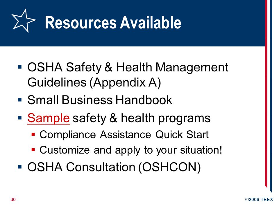 30©2006 TEEX Resources Available  OSHA Safety & Health Management Guidelines (Appendix A)  Small Business Handbook  Sample safety & health programs Sample  Compliance Assistance Quick Start  Customize and apply to your situation.