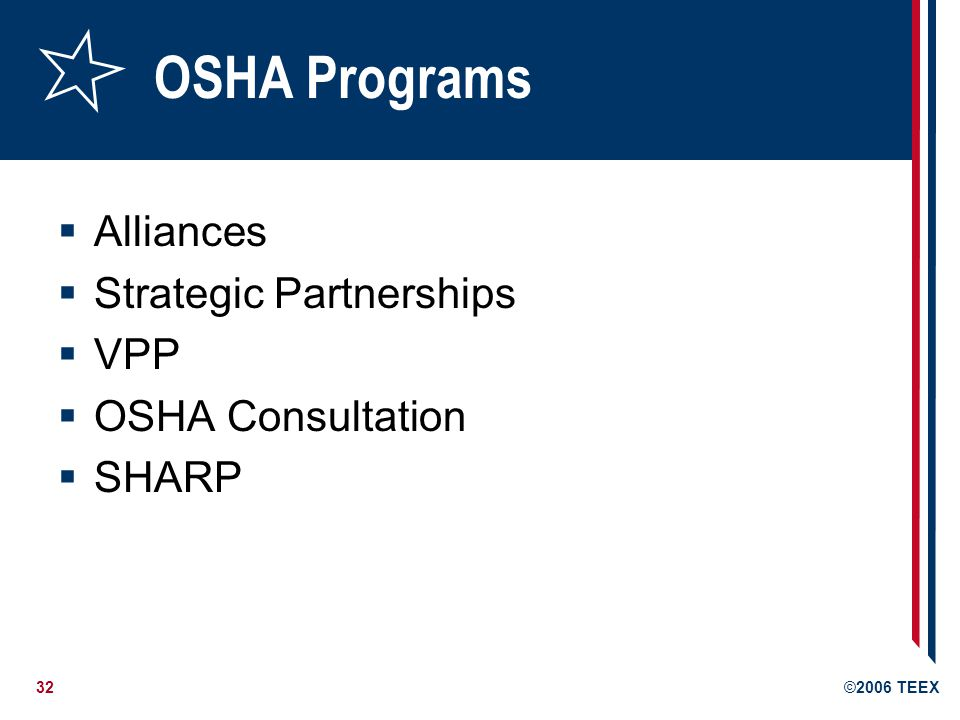 32©2006 TEEX OSHA Programs  Alliances  Strategic Partnerships  VPP  OSHA Consultation  SHARP