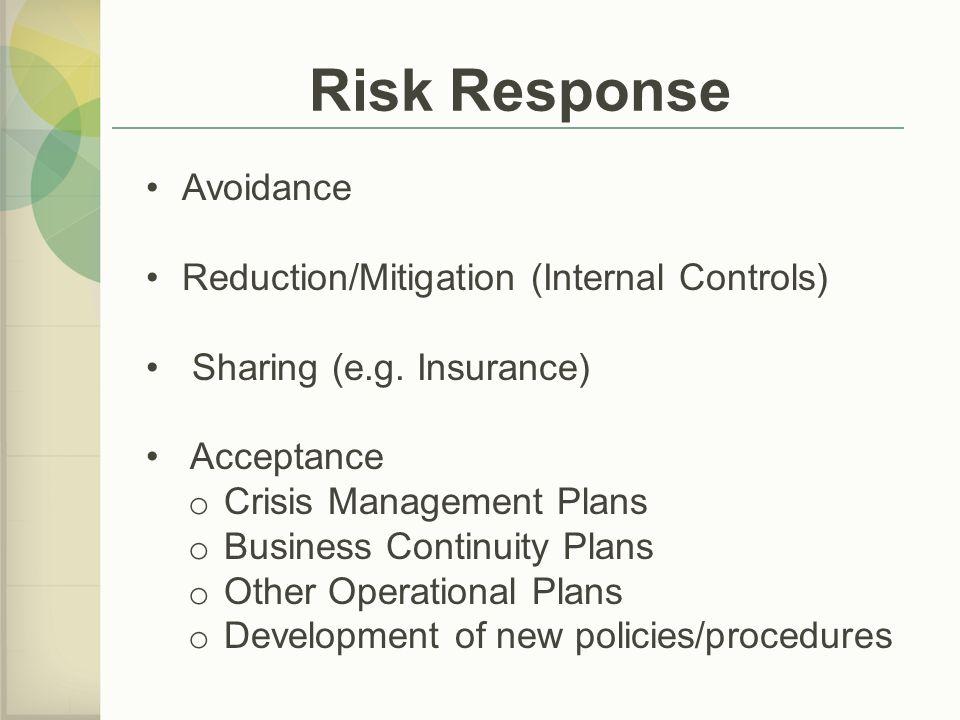 Risk Response Avoidance Reduction/Mitigation (Internal Controls) Sharing (e.g.