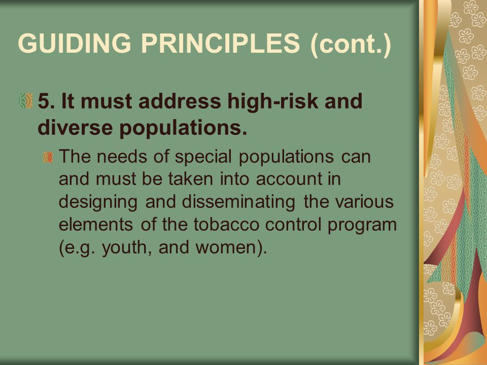 GUIDING PRINCIPLES (cont.) 5. It must address high-risk and diverse populations. The needs of special populations can and must be taken into account i