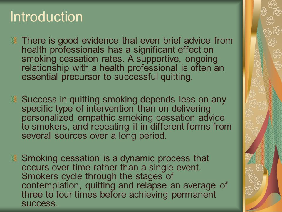 Introduction There is good evidence that even brief advice from health professionals has a significant effect on smoking cessation rates. A supportive