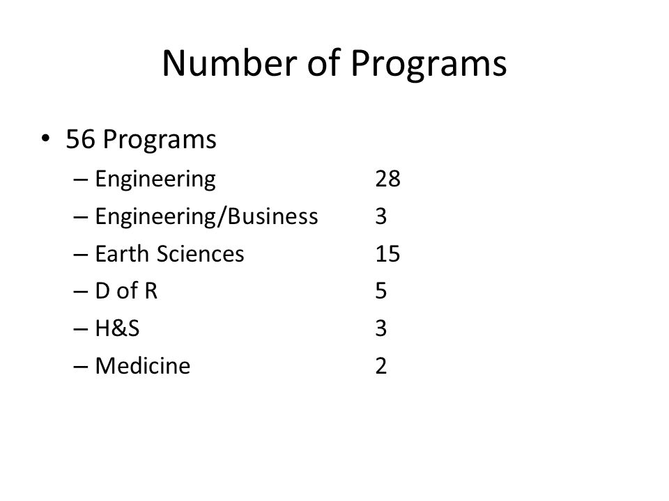 Number of Programs 56 Programs – Engineering28 – Engineering/Business3 – Earth Sciences15 – D of R5 – H&S3 – Medicine2