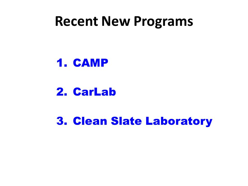 Recent New Programs 1.CAMP 2.CarLab 3.Clean Slate Laboratory