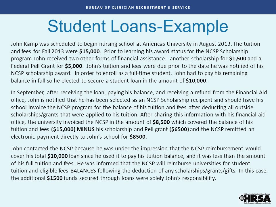 Student Loans-Example John Kamp was scheduled to begin nursing school at Americas University in August 2013. The tuition and fees for Fall 2013 were $