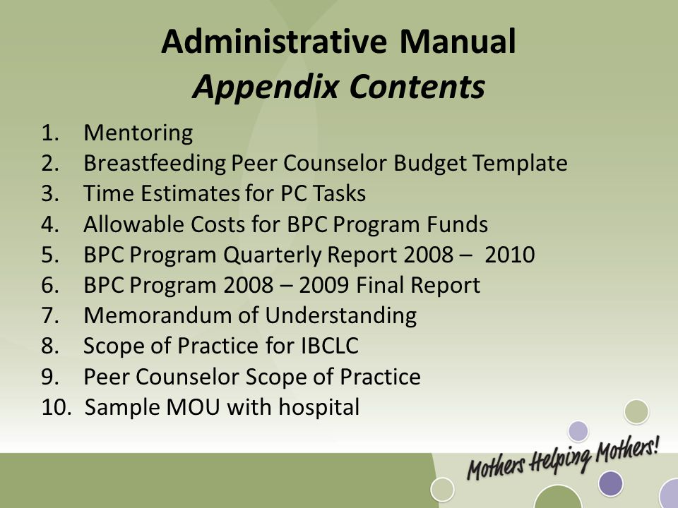Administrative Manual Appendix Contents 1.Mentoring 2.Breastfeeding Peer Counselor Budget Template 3. Time Estimates for PC Tasks 4. Allowable Costs f
