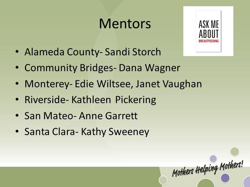 Mentors Alameda County- Sandi Storch Community Bridges- Dana Wagner Monterey- Edie Wiltsee, Janet Vaughan Riverside- KathleenPickering San Mateo- Anne Garrett Santa Clara- Kathy Sweeney