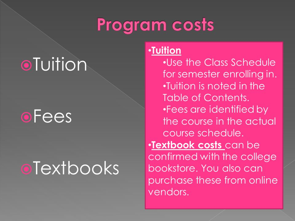  Tuition  Fees  Textbooks Tuition Use the Class Schedule for semester enrolling in.