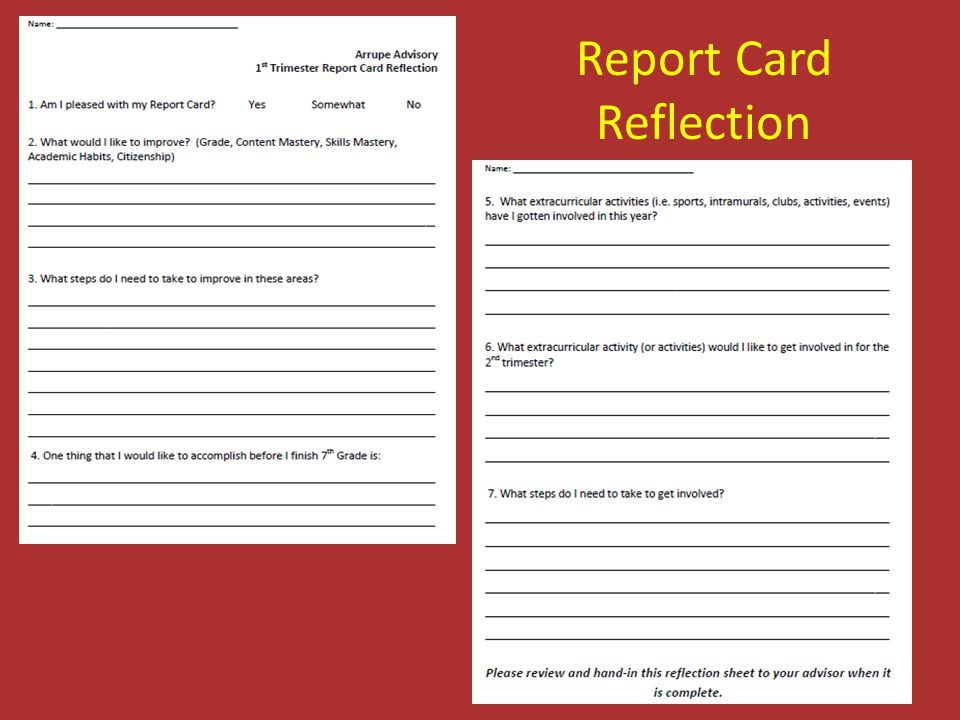 Report Card Reflection