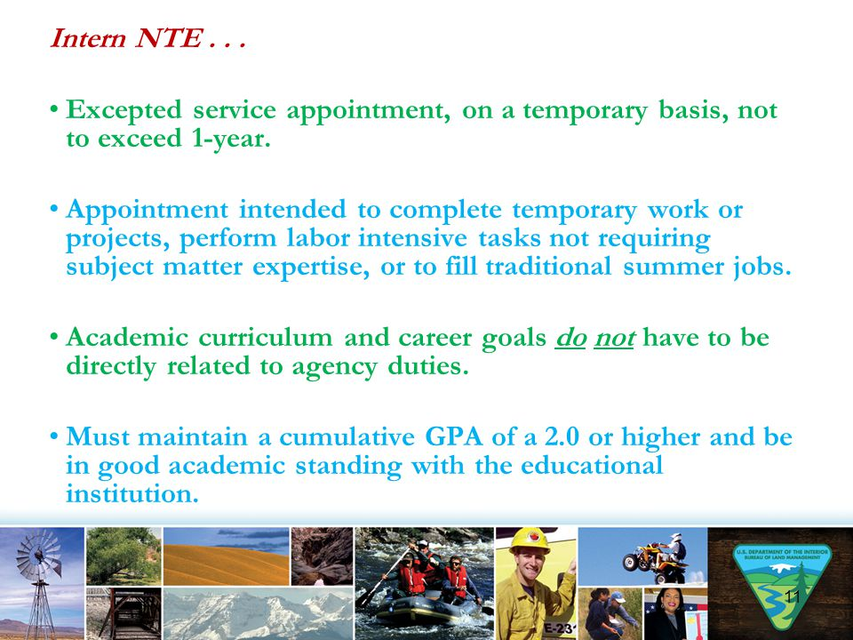 Intern NTE... Excepted service appointment, on a temporary basis, not to exceed 1-year. Appointment intended to complete temporary work or projects, p