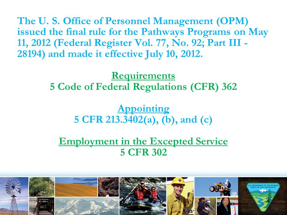 1.Recent Graduates and PMFs must work full-time schedules unless otherwise authorized by OPM.