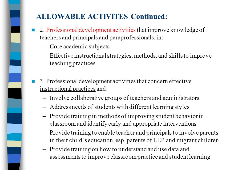 ALLOWABLE ACTIVITES Continued: 2.